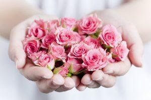 掌の上のバラ